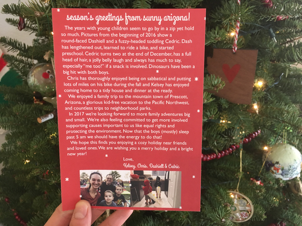 Our 2016 Christmas cards!   RISING*SHINING